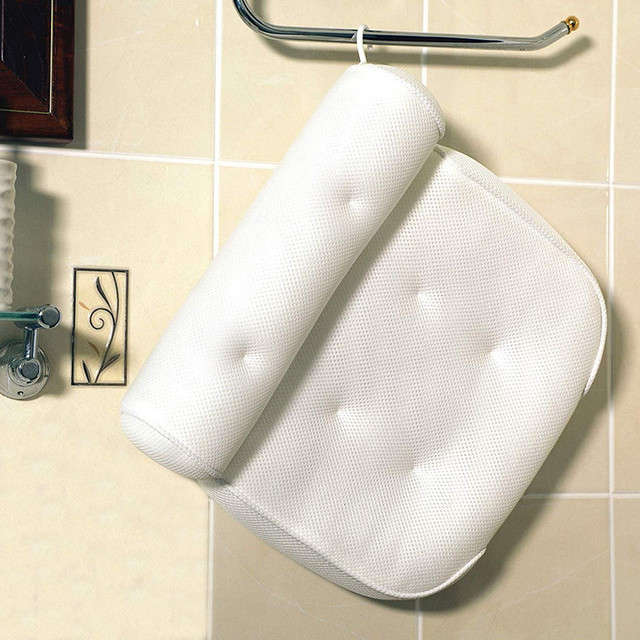 SPA Bath Pillow with Suction Cups Neck and Back Support Headrest Pillow Thickened for Home Hot Tub Bathroom Cushion Accersories 2