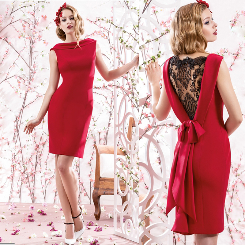 Sexy Red Short Lace Back Beading Sleeveless Mother Of The Bride Dresses With Bow Knee-Length Costumes Mere De La Mariee MBD149