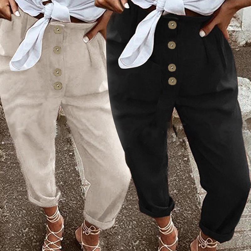 2019 Celmia Women Vintage Harem Pants Solid Casual Loose Buttons Long Trousers Ladies Palazzo Cargo Pantalon Femme Plus Size 5XL