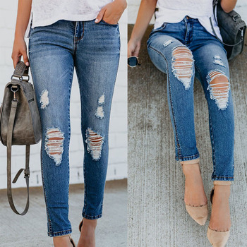 2019 spring and autumn new ladies slim jeans full spray craft hole jeans stretch feet oblique split Ms denim pants