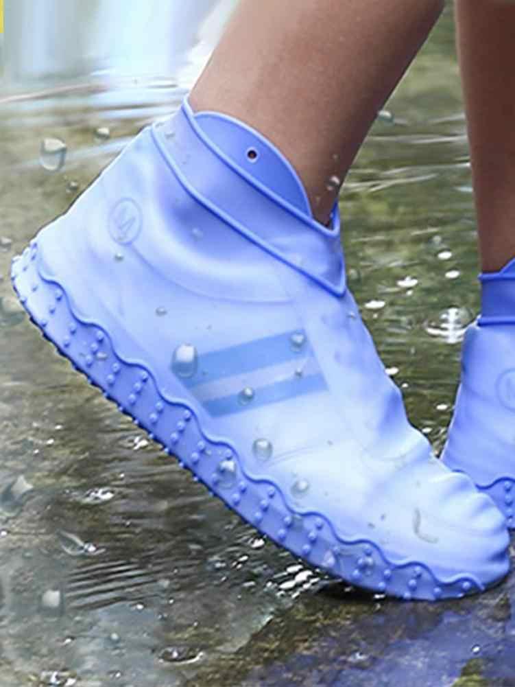 1 Pasang Tahan Air Hujan Sepatu Covers Slip Karet Tahan Hujan Boot Overshoes Unisex Bersepeda Olahraga Dapat Digunakan Kembali Silikon Sepatu Penutup