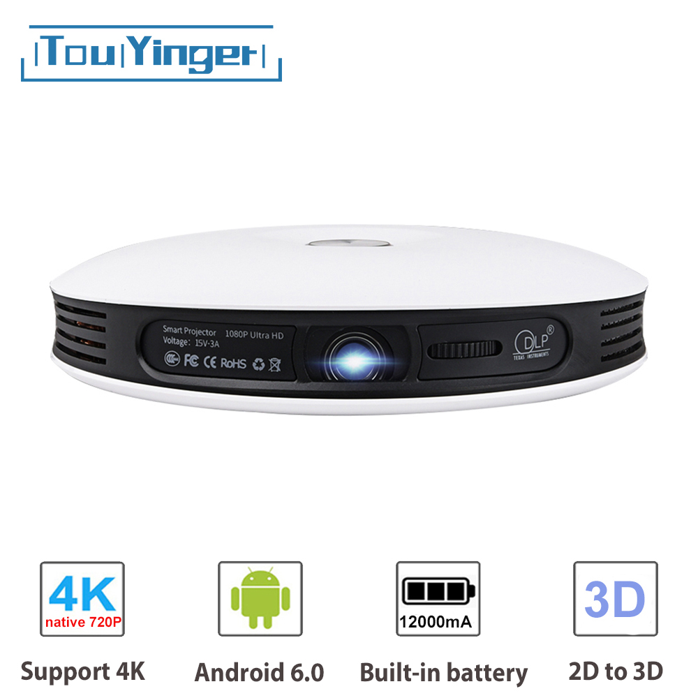 TouYinger G4 Mini 2D To 3D DLP Projector Data Show Android 720P Full HD 4K Video Wifi Bluetooth HDMI Portable Home Cinema Beamer