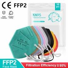 Mascarilla – masque Facial FFP2 KN95, 5 couches, filtre, réutilisable, noir, approuvé CE, pour adultes