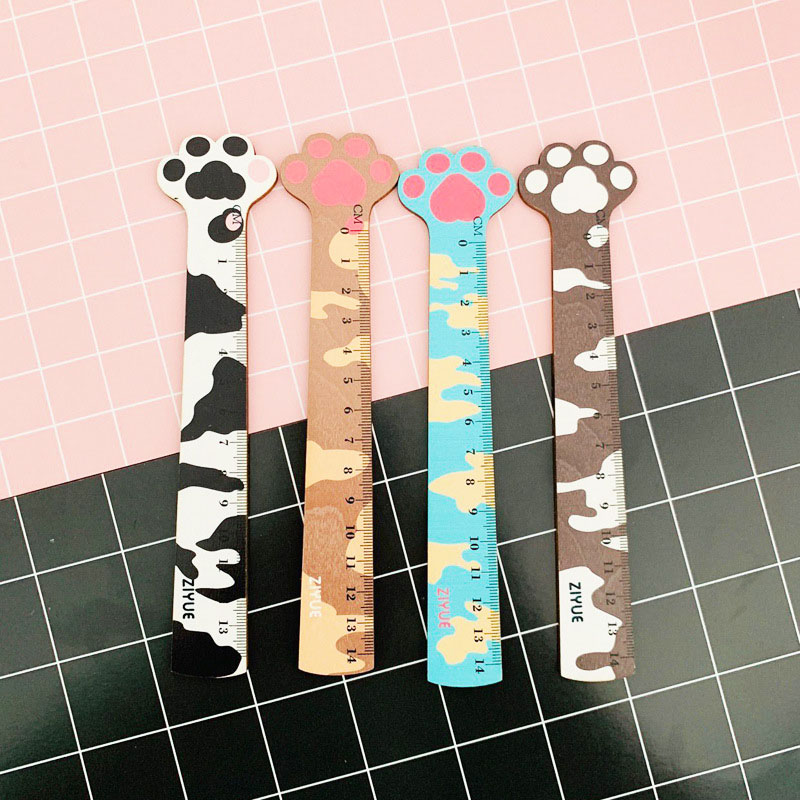 1PC Kawaii Paw Wooden Rulers Cute Cat Rulers 14cm For Kids Gift Measuring Tools School Office Supplies Stationery