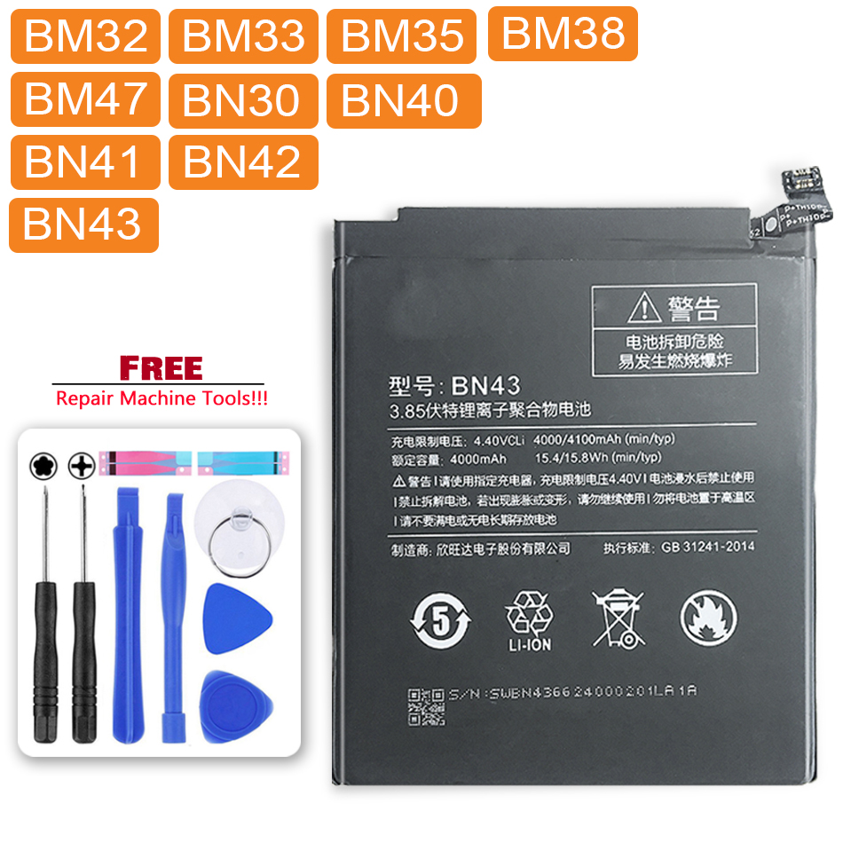 Battery BM38 BN30 BN40 BN42 BN43 Xiaomi Redmi BN41 BM32 BM47 BM35 Note-4 for 4-4x4a/4-pro/3/3s title=