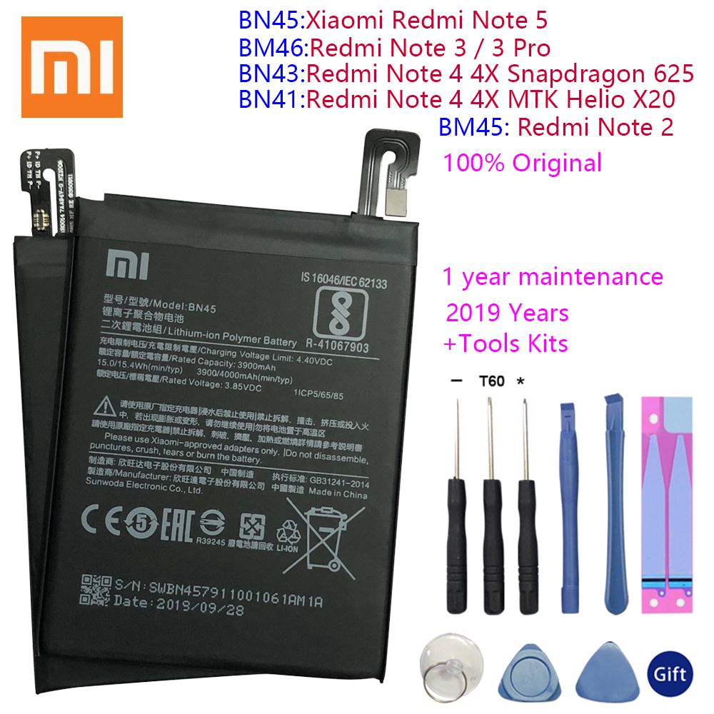 BN43 BN41 BM45 BM46 BN45 Battery For <font><b>Xiaomi</b></font> <font><b>Redmi</b></font> Note 5 4 <font><b>4X</b></font> <font><b>3</b></font> 2 Note2 Note3 Note4 Note4X Replacement Lithium Polymer Bateria image