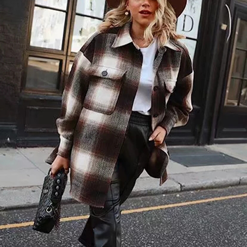 Plaid Coat Oversize Jacket Streetwear Long-Sleeve Female Woolen Vintage Girls Elegant