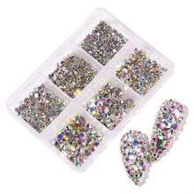 Novo multi-tamanho prego strass 3d cristal ab diy arte do prego decorações de cristal diamante gema 3d brilho beleza do prego