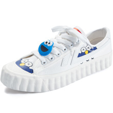 Brand Canvas Women Vulcanize Shoes Fashion Graffiti Flats Woman Breathable Lace-Up Totem Low-cut Ladies High Quality
