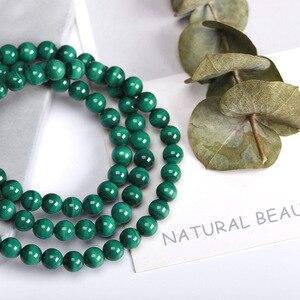 Image 2 - JD 6mm vert Malachite pierre Bracelets 54cm perles de prière islamique musulman Tasbih Allah Mohammed chapelet pour les femmes hommes