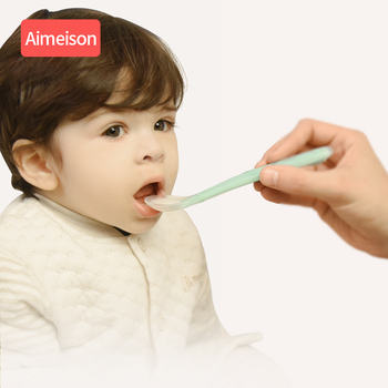 silicone baby spoon feeding baby spoon for baby dishes Tableware for children flatware cutlery Aimeison silicone spoon 2017 new safety soft spoon baby flatware feeding spoon transparent newborn soft silicone flatware lovely gifts for kids 3 colors