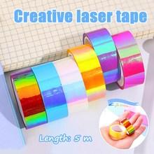 Laser Rainbow Diy Hand Account Material Decoration Scrapbook Gradient Waterproof Creative And Paper Tape School Supplies