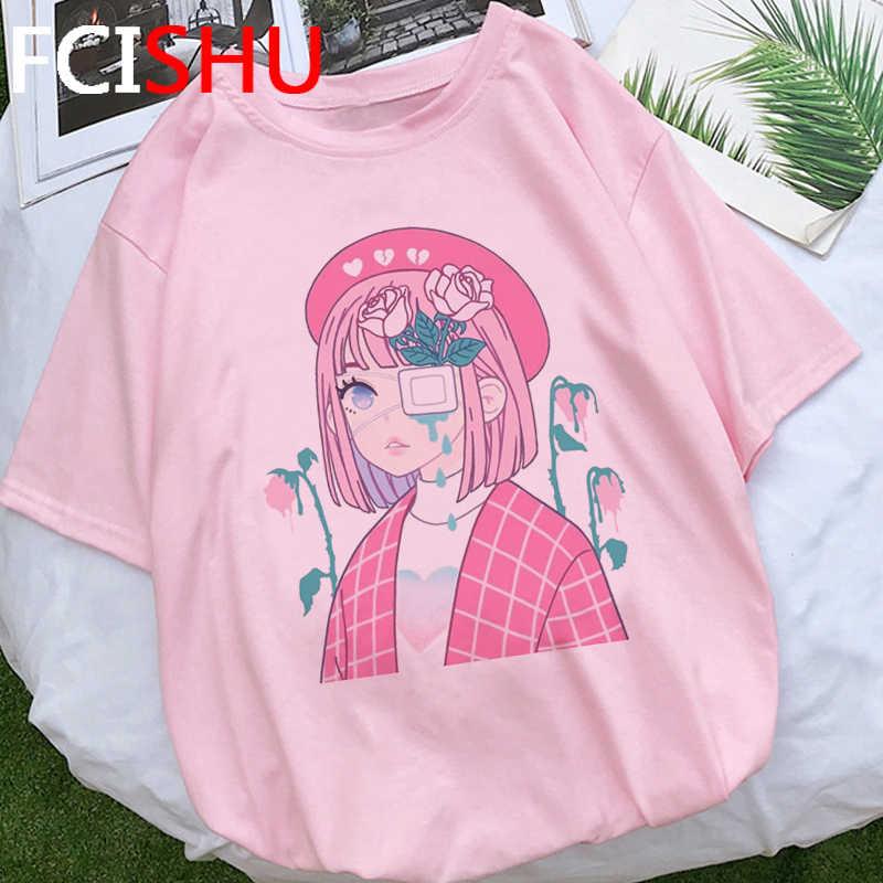 E สไตล์สาว Aesthetic T เสื้อผู้หญิง E-สาวขนาดใหญ่ฤดูร้อนเสื้อยืด Streetwear Hip Hop TShirt แขนสั้นด้านบนเสื้อ TEE หญิง