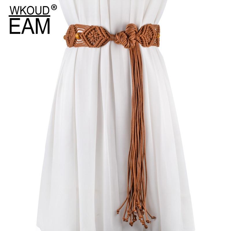 WKOUD EAM 2020 New Fashion Wide Tassel Belt Women Solid Color Wild Wedding Dress Waistband Personality Tie Belt PE213