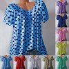 S-5XL Plus Size Tops Women Blouse Summer Tops Casual V Neck Short Sleeve Loose Shirt Dot Printed Blouse Blusas Mujer De Moda 2