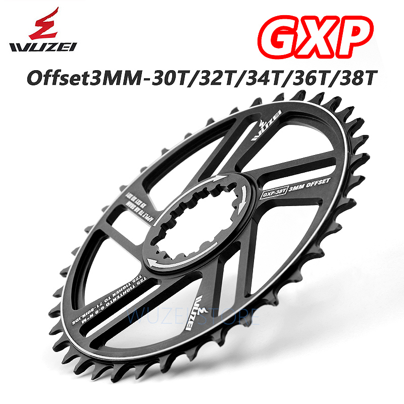 WUZEI MTB Mountain Bike Chainring 30/32/34/36/38T 0/3 degrees Crown bicycle Chainwheel for Sram 11/12S NX XX XO GX GXP Crankset image