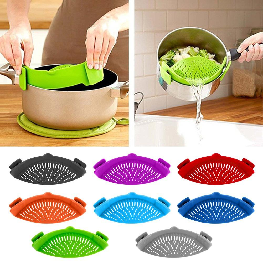 Vegetable Noodles Washing Sieve Kitchen Cleaning Strainer Draining Liquid Tool Kitchen Clip On Pot Strainer Drainer