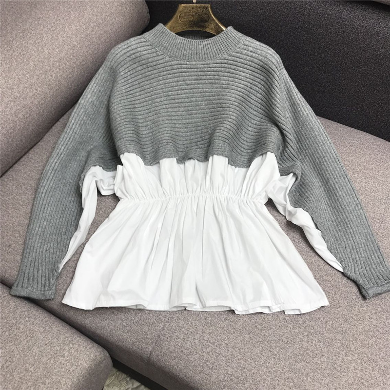 Luxury Designer Brand Knitted Sweater For Women O Neck Collect Waist Blouse Joint Knitted Pullover Sweater