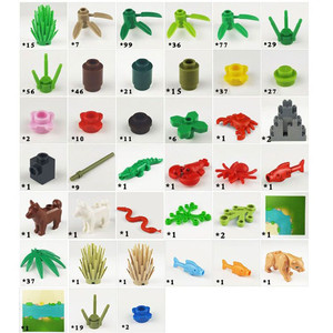 Image 3 - Juego de bloques de construcción Compatible con todas las marcas, árbol de hierba Animal de la selva tropical, con placa base, accesorios MOC de ciudad, piezas DIY