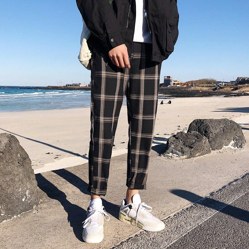 Casual Plaid Pants Men Loose Cotton Streetwear Sweatpants Mens Male Korean Retro Joggers Pants Couple Clothing