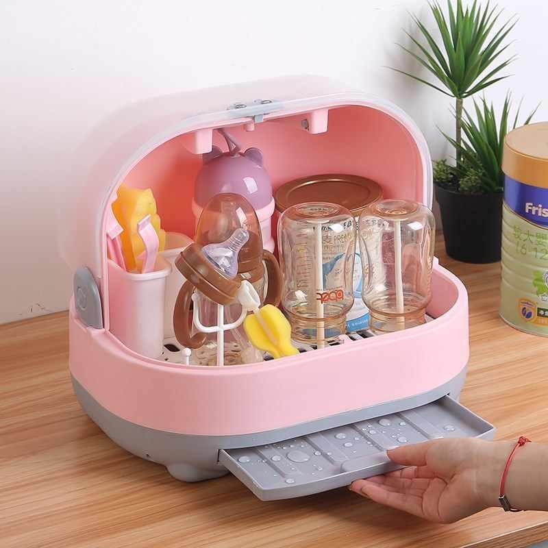 ビッグ哺乳瓶乾燥ラック幼児摂食カップ棚水切りおしゃぶりホルダードライヤー水切り収納ボックス乳首棚ケース