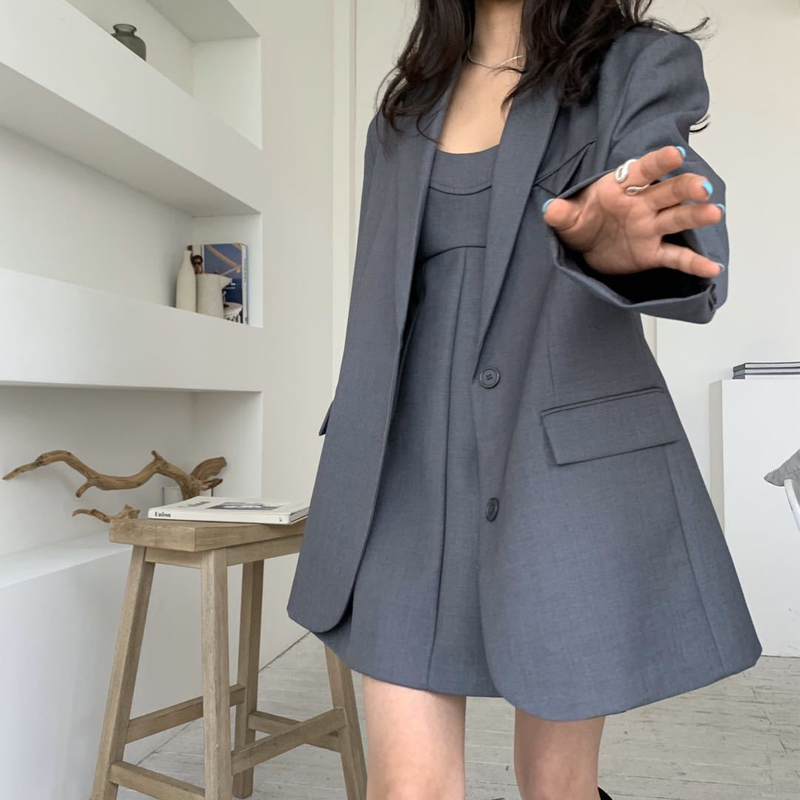 Spring Fashion Korea Women's Blazer Suit Casual Solid Color Big Loose Oversize Jacket