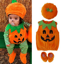 2019 New Novelty Kid Baby Girl Boys Halloween Clothes Set Pumpkin Tops Hat Outfit Party Fancy Dress Cosplay Costume 3pcs