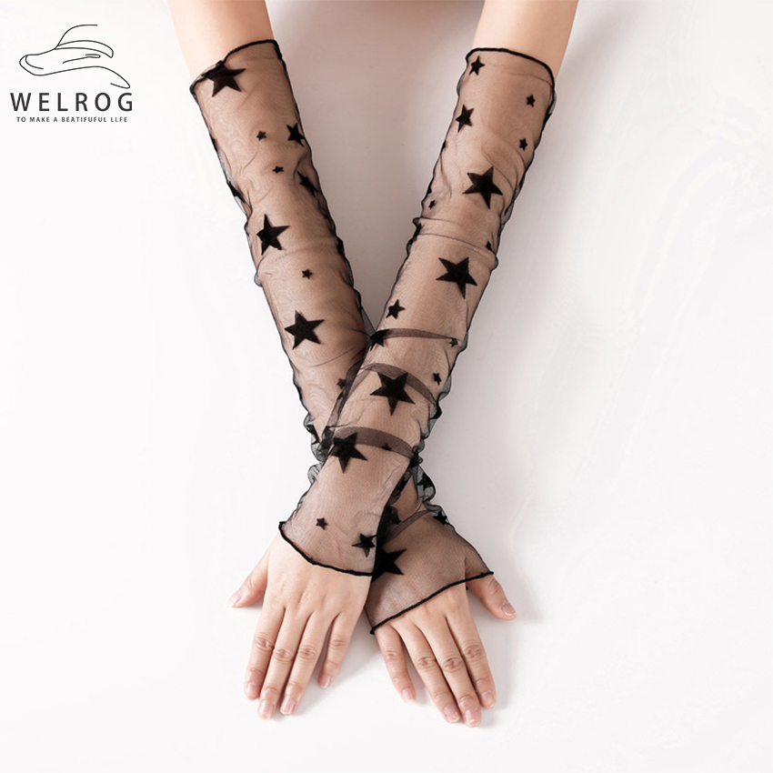 WELROG Long Arm Elbow Gloves Bride Gloves For Black Color Lace Sexy Female Mesh Gauze Sleeves With Fascinators Spring