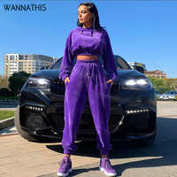 WannaThis Hooded Jackets Women 2 Piece Set Autumn Winter Top And Sporting Pants Sweat Suit Two Piece Outfit Matching Sets Soft