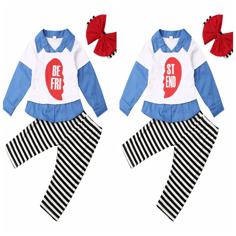 1-5Y Toddler Baby Girl <font><b>Kid</b></font> <font><b>BEST</b></font> <font><b>FRIEND</b></font> Matching Girl Clothes Outfits Long Sleeve <font><b>Shirt</b></font> Tops Striped Pants Headband 3Pcs Set image