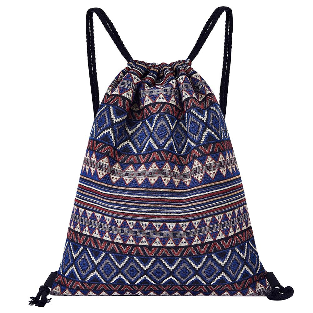 Hided Pocket Drawstring Backpack Knit Fabric Casual Durable Travel Fashion Retro Style Sack Large Capacity Geometrical Practical