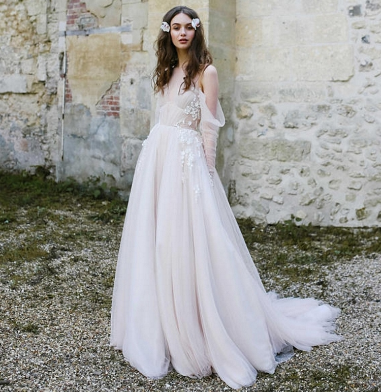 Nude Vintage Fairy Flower Bride Wedding Dress Bridal Gown Champagne Lining