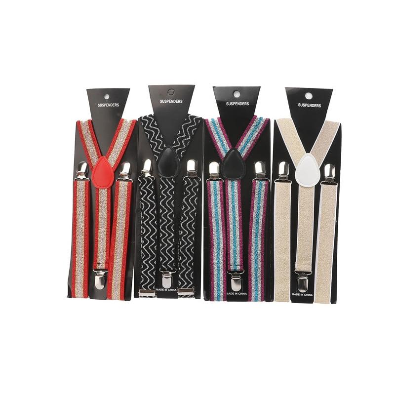 2.5cm Men's Colorful Shining Elastic Suspender Belt Unisex Striped Stage Performance Brace Bright Vintage Strap Wedding Wear