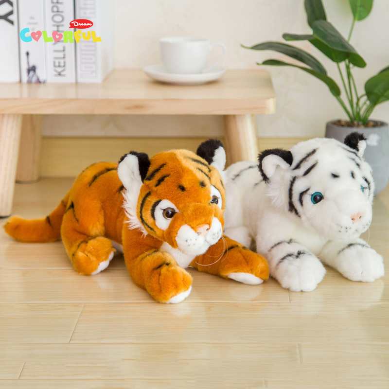 1PCS 30/38cm Simulation White Yellow  Tigers Plush Toy Kawaii Plush Stuffed Animal Kids Toy Christmas Gift