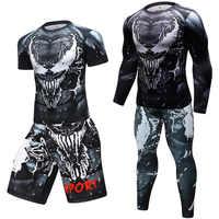 MMA BJJ lycra T camisas + Pantalones erupción Fitness chándal camisetas Muay Thai de compresión de los hombres artes marciales mixtas boxeo traje de deporte