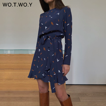 WOTWOY Casual Leaves Print Mini Dresses Female Summer Sashes A-Line Dress Lady Long Sleeve O-Neck Bodycon Dress Woman 2020 Blue