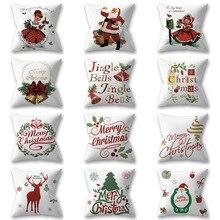 1pc 45x45cm Merry Christmas Cushion Cover Cartoon Xmas Elk Snowman Home Sofa Seat Car Pillowcase Decoration