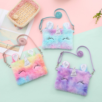 Cartoon Kids Plush Purses And Handbags 2020 Cartoon Unicorn Coin Wallet Pouch Baby Girl Money Change Purse Shoulder Bag