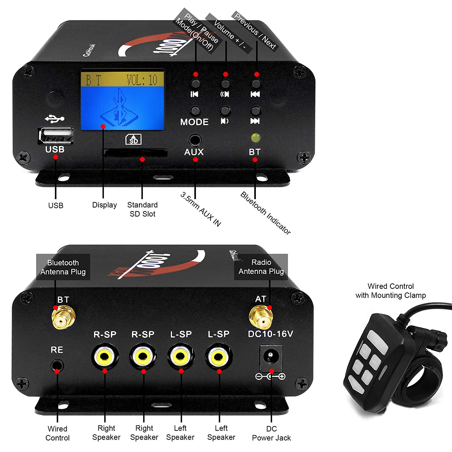 Image 5 - Aileap 1000W Motorcycle Audio 4 Channel Amplifier Speakers System, Support Bluetooth, AUX, FM Radio, SD Card, USB Stick (Black)Motorcycle Audio   -