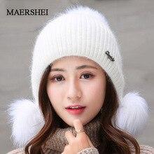 Rabbit Plush Hats Women Winter Fashion Beanies Sweet Cute Hedging Cap Velvet Wool Hat Student Hair Ball Caps Warm Knit