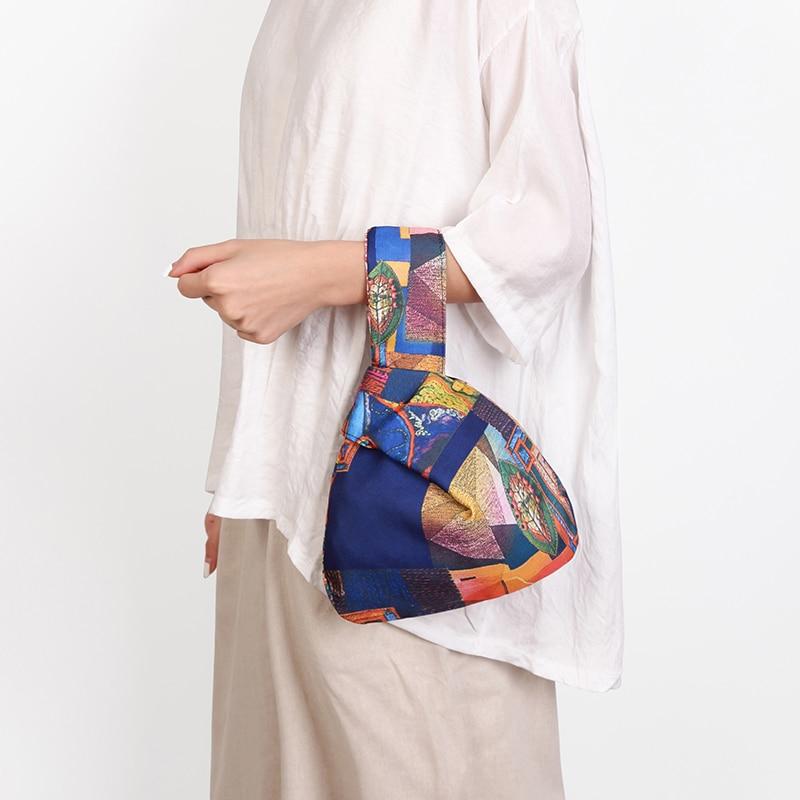Japanese Mini Portable Knot Wrist Bag Women Top Handle Bag Simple Purses Handbags Waterproof Shopping Bag Phone Key Pouch