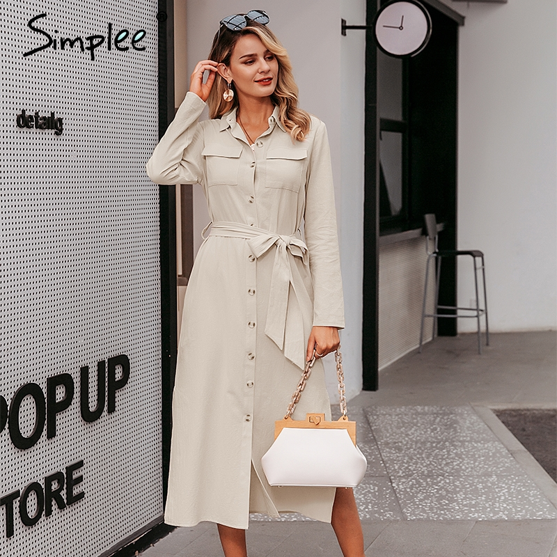 Simplee Streetwear Long Party Dress Lapel Bow Loose Cotton Maxi Dress Elegant Office Lady Work Wear Autumn Winter Retro Dress