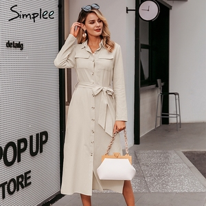 Image 2 - Simplee Streetwear ארוך המפלגה שמלת דש קשת loose כותנה מקסי שמלה אלגנטי משרד ליידי עבודה ללבוש סתיו חורף רטרו שמלה
