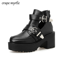 women short boots chunky heel ankle boots Buckle Strap Shoes Female Pu leather Motorcycle Boots Autumn shoes Punk Boots YMA907 цена 2017