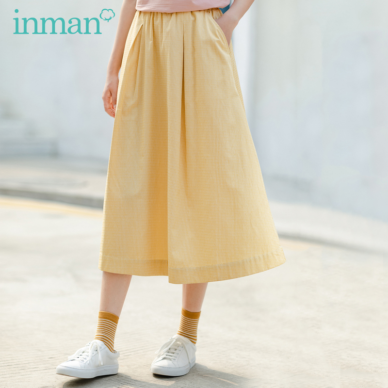 INMAN 2020 Summer New Arrival Slimmed Plicated Fine Plaid Elagant Literary Female-style Skirt