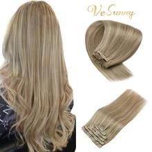 Hair-Extensions Human-Hair Clip-In Real Vesunny Blonde Mix Dark-Ash Double-Weft 16/22