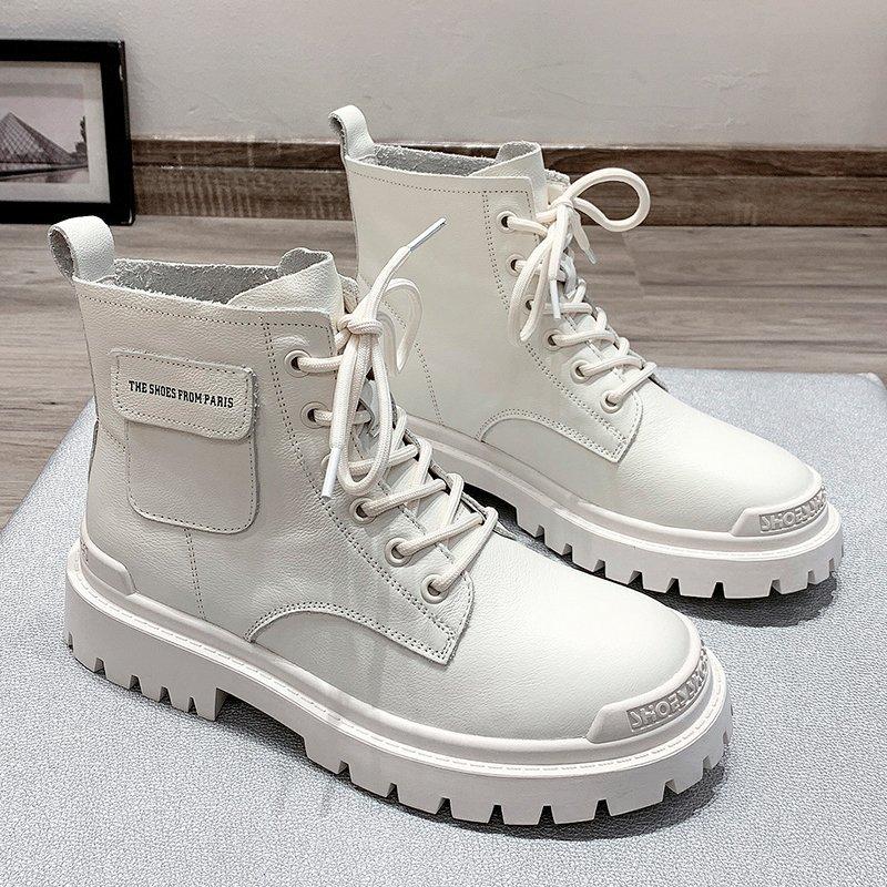2020 Autumn Women White Ankle Boots Fashion Platform Gothic Shoes Black Leather Motorcycle Boots Women Lace Up Combat Boots