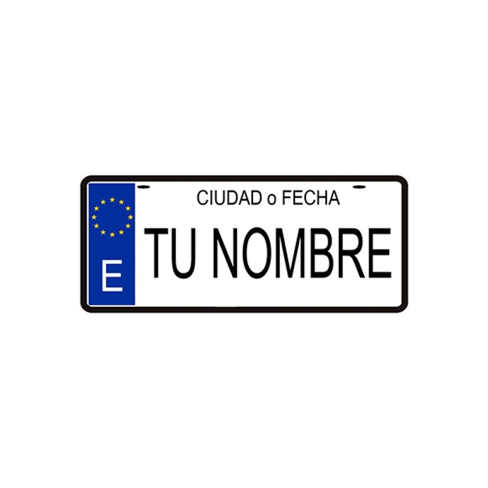 Amazonik - Placa 100% personalizzato license plate holder, decorativo, Il Vostro nome, data, città o di progettazione di design, 14x6 centimetri In Metallo-Made In Spagna