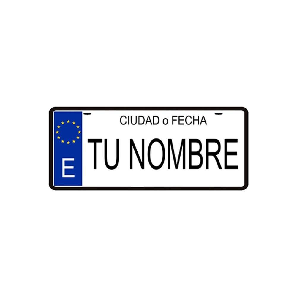 Amazonik-placa 100% personalizado titular da placa de licença, decorativo, seu nome, data, cidade ou design, 14x6 cm metal-feito na espanha