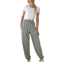 Женские брюки для бега с высокой талией повседневные однотонные